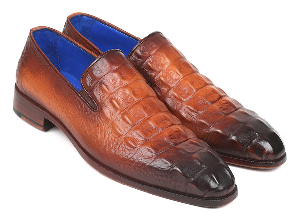 Paul Parkman Brown Crocodile Embossed Calfskin Loafers (ID#5576-BRW)
