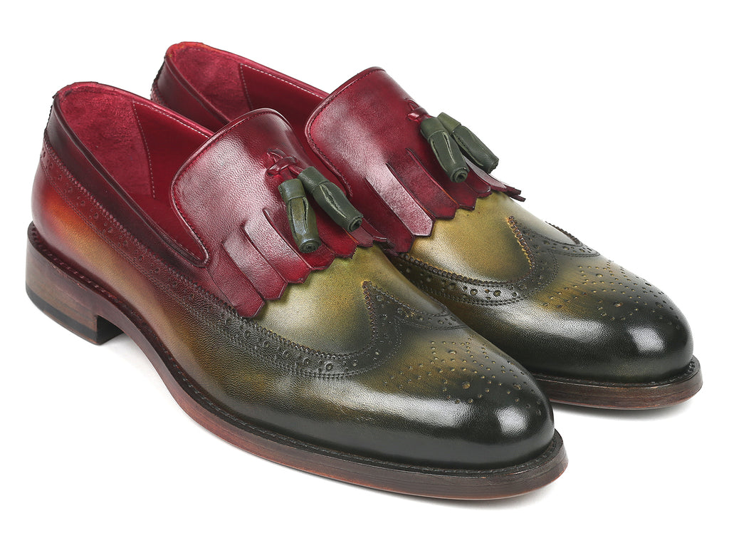 Paul Parkman Kiltie Tassel Loafer Green & Bordeaux (ID#KT39RD)