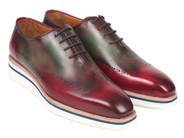 Paul Parkman Men's Smart Casual Wingtip Oxfords Bordeaux & Green (ID#187-BRD-GRN)