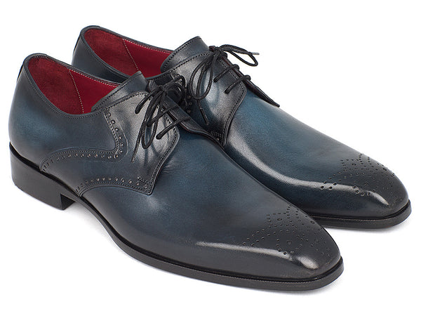 Paul Parkman Men's Navy & Blue Medallion Toe Derby Shoes (ID#6584-NAVY)