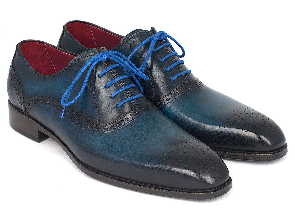 Paul Parkman Men's Blue & Navy Medallion Toe Oxfords (ID#FS88VA)
