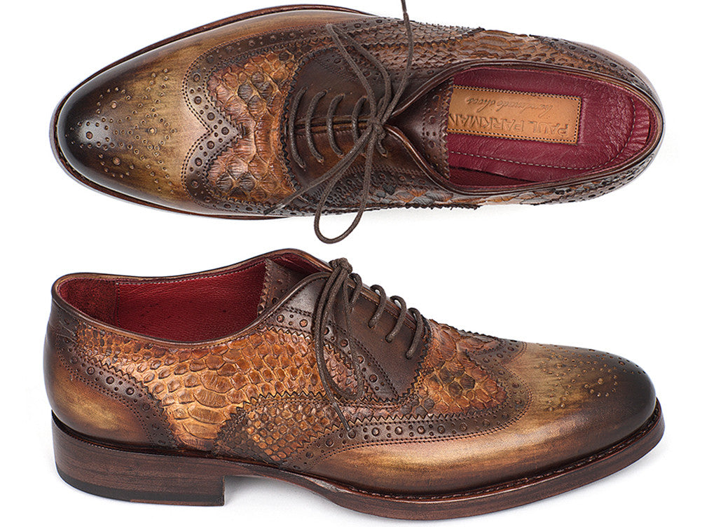 Paul Parkman Goodyear Welted Camel Genuine Python & Brown Calfskin Wingtip Oxfords (ID#27PT-CMLBRW)