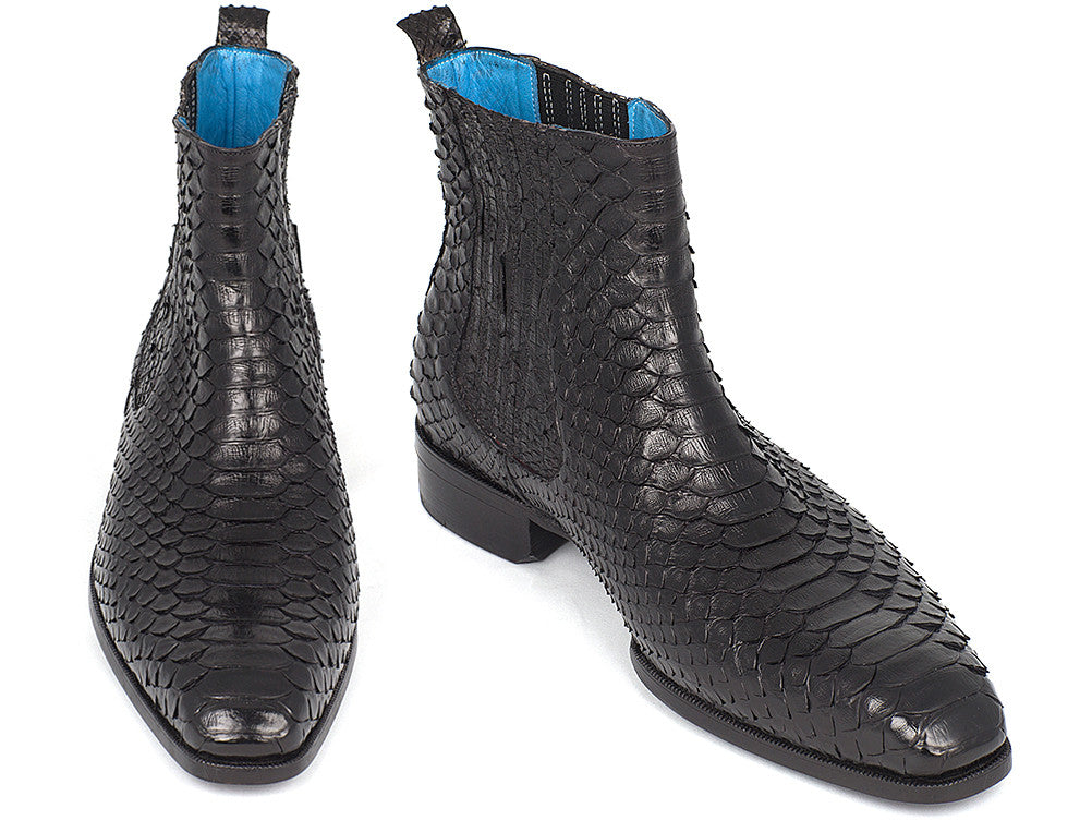 Paul Parkman Men's Black Python Chelsea Boots (ID#BT3410BLK)