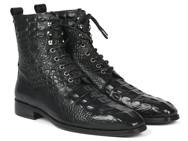 Paul Parkman Men's Black Croco Embossed Leather Lace-Up Boots (ID#BT744-BLK)