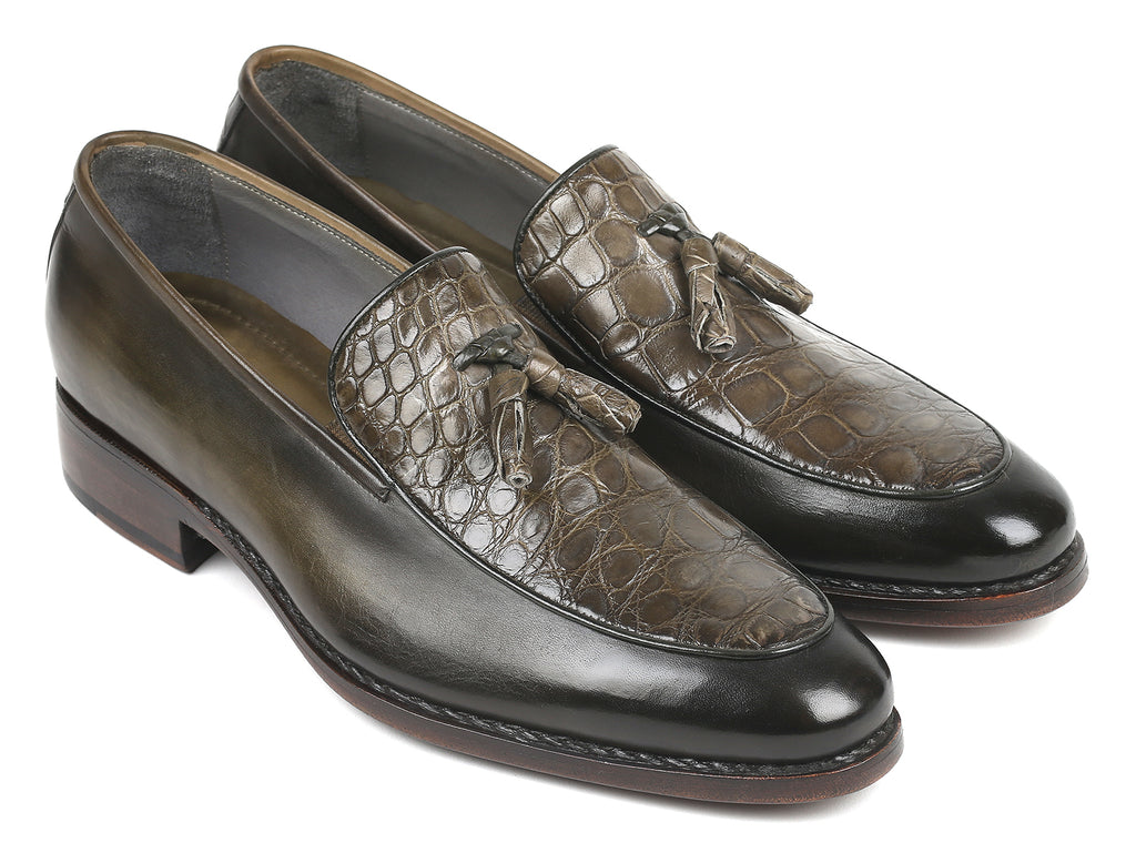 Paul Parkman Green Genuine Crocodile & Calfskin Tassel Loafers (ID#118GR30)