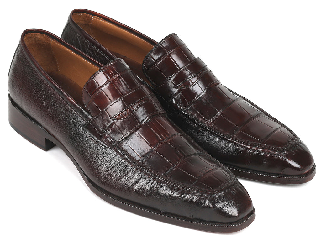 Paul Parkman Genuine Crocodile & Ostrich Penny Loafers Brown (ID#19CR11-BRW)