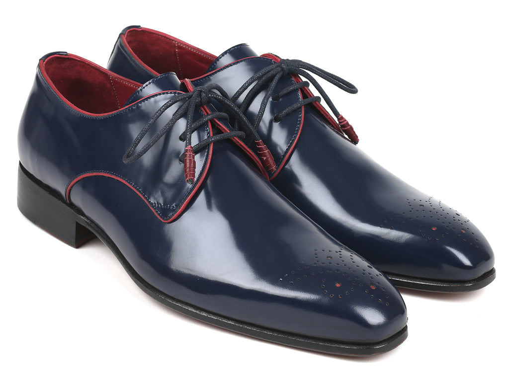 Paul Parkman Medallion Toe Navy Derby Shoes (ID#57RG27)