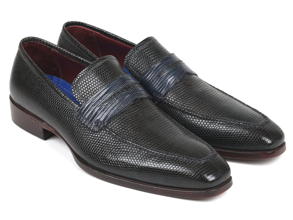 Paul Parkman Genuine Iguana Penny Loafers Navy (ID#603ZK91)