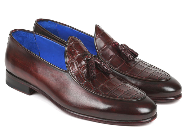 Paul Parkman Bordeaux Genuine Crocodile & Calfskin Tassel Loafers (ID#4963-BRD)