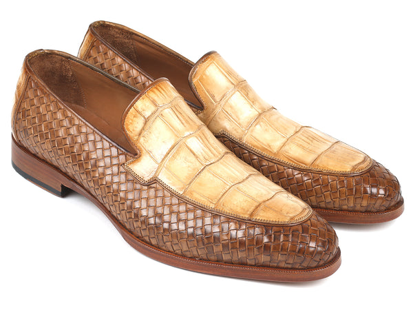 Paul Parkman Beige Genuine Crocodile & Woven Leather Loafers (ID#6319BJ53)