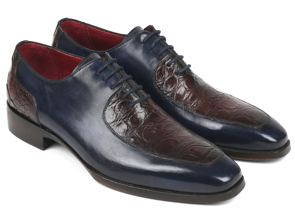 Paul Parkman Genuine Crocodile & Calfskin Oxfords Navy Brown (ID#193NV41)