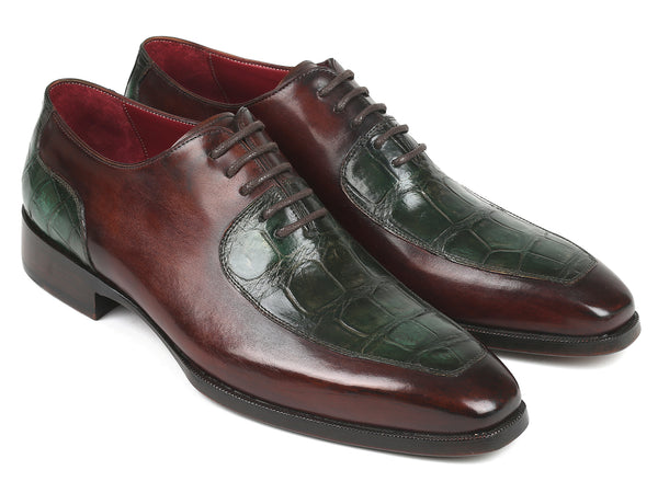 Paul Parkman Genuine Crocodile & Calfskin Oxfords Brown Green (ID#193BR82)