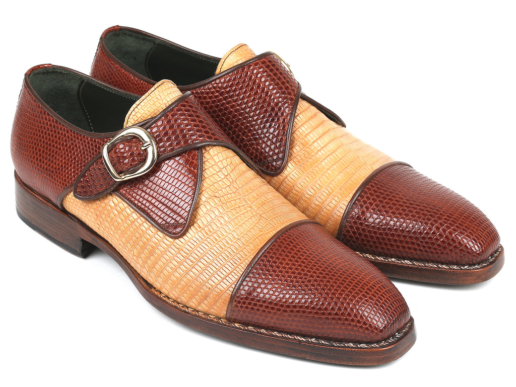 Paul Parkman Genuine Iguana Captoe Monkstraps Beige Brown (ID#409DN29)