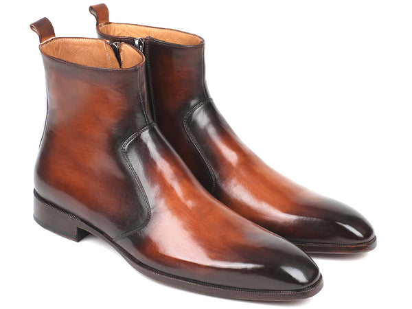 Paul Parkman Brown Burnished Side Zipper Boots (ID#BT486-BRW)