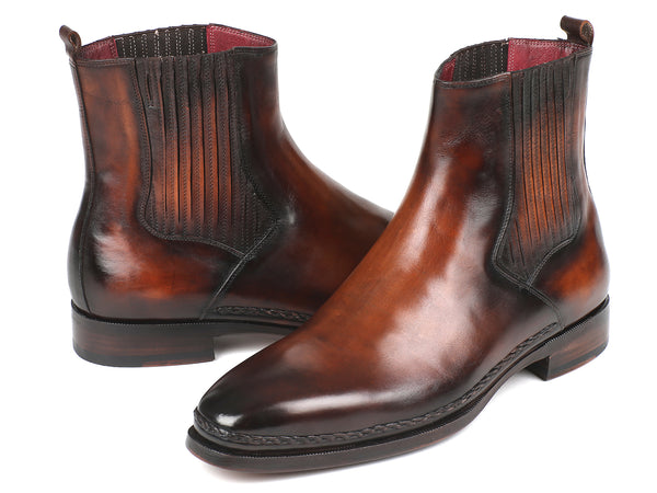 Paul Parkman Chelsea Boots Brown Burnished Leather (ID#BT57-BRW)