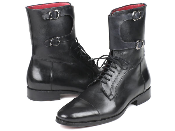 Paul Parkman Men's High Boots Black Calfskin (ID#F555-BLK)