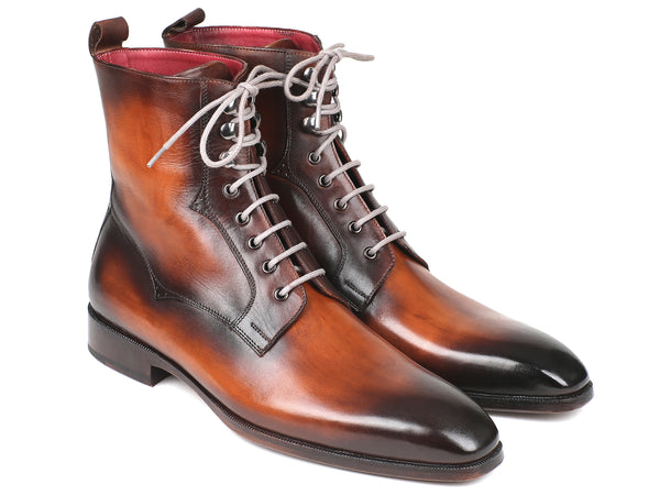 Paul Parkman Men's Brown Burnished Leather Lace-Up Boots (ID#BT534-BRW)