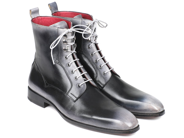 Paul Parkman Men's Gray Burnished Leather Lace-Up Boots (ID#BT535-GRY)