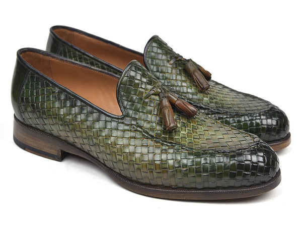 Paul Parkman Woven Leather Tassel Loafers Green  (ID#WVN44-GRN)