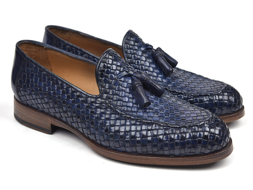 Paul Parkman Woven Leather Tassel Loafers Navy (ID#WVN44-NAVY)
