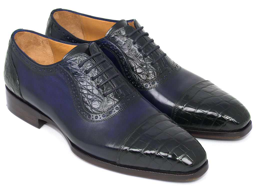 Paul Parkman Men's Navy Genuine Crocodile & Calfskin Oxfords (ID#CR244NVY)