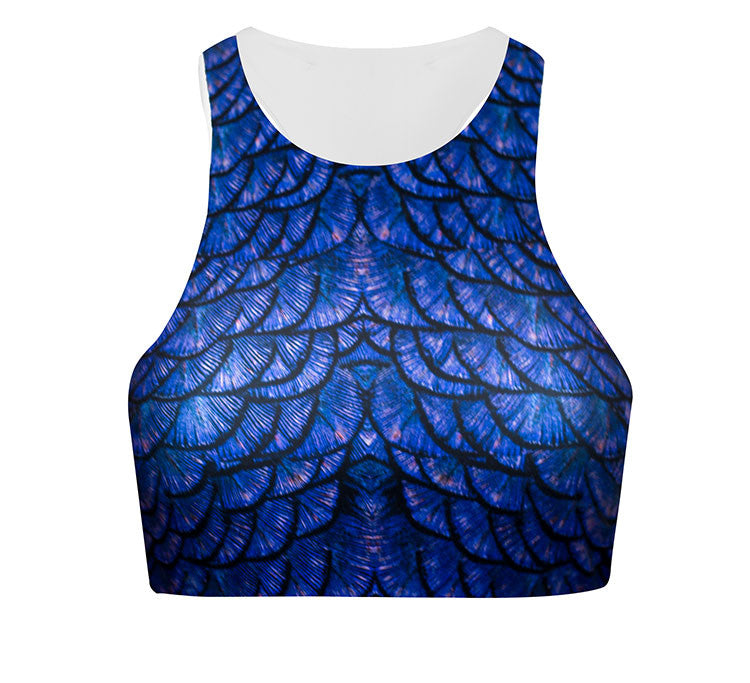 High Neck Active Crop in Royal