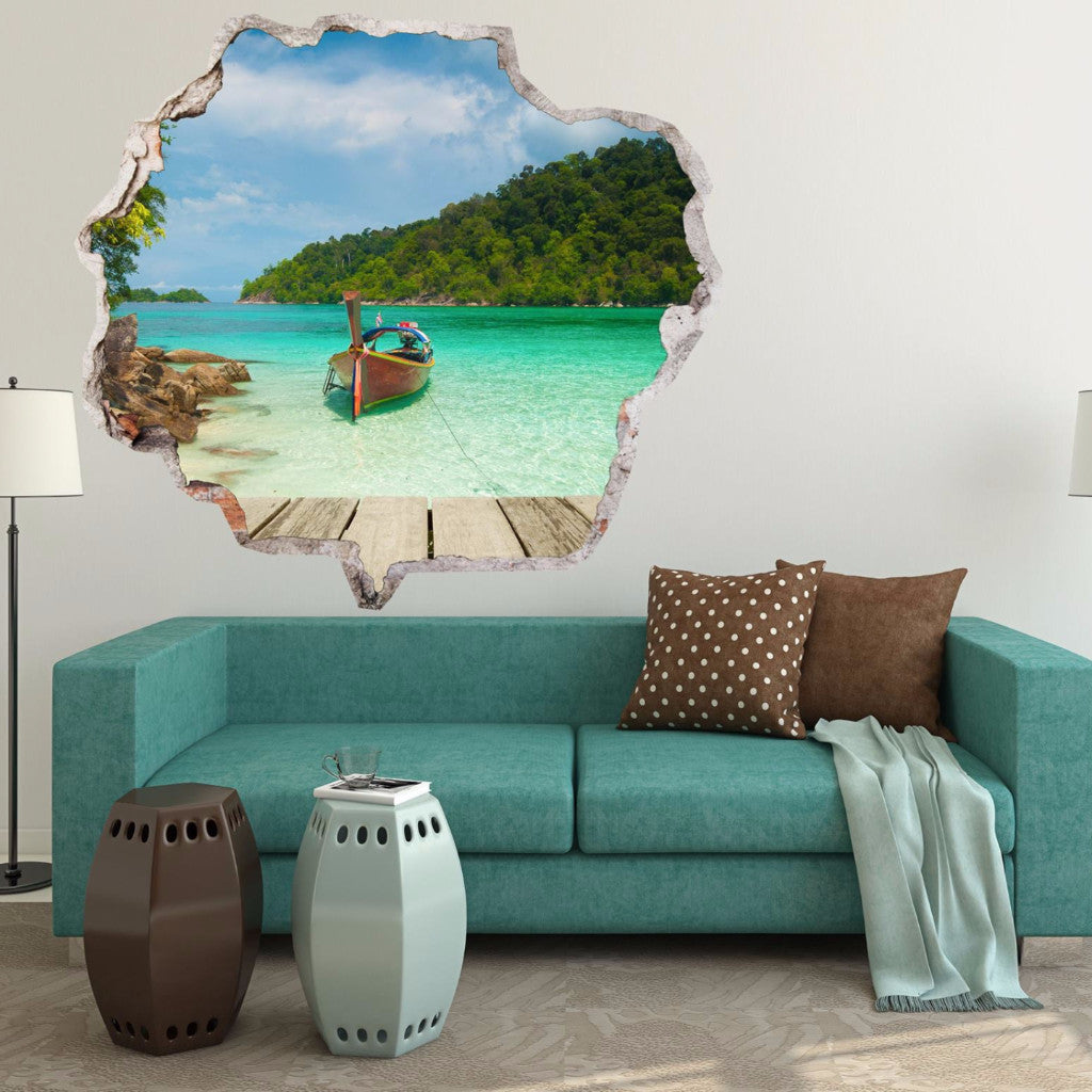 Beach wall stickers broken wall decals amaiii103 vinyl 3d beach wall stickers broken wall decals amaiii103 amipublicfo Image collections