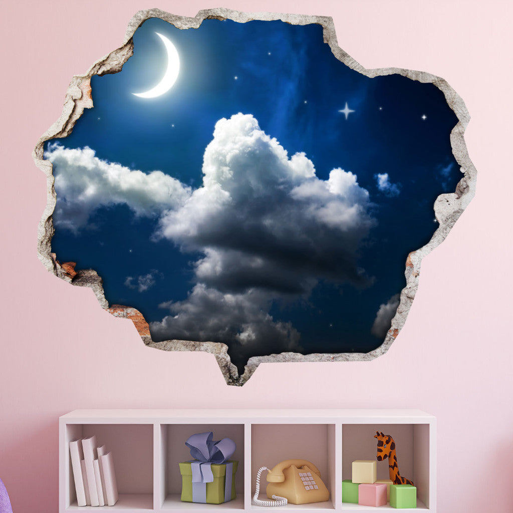 Night Wall Stickers | Broken Wall Decals | AMAIII.113