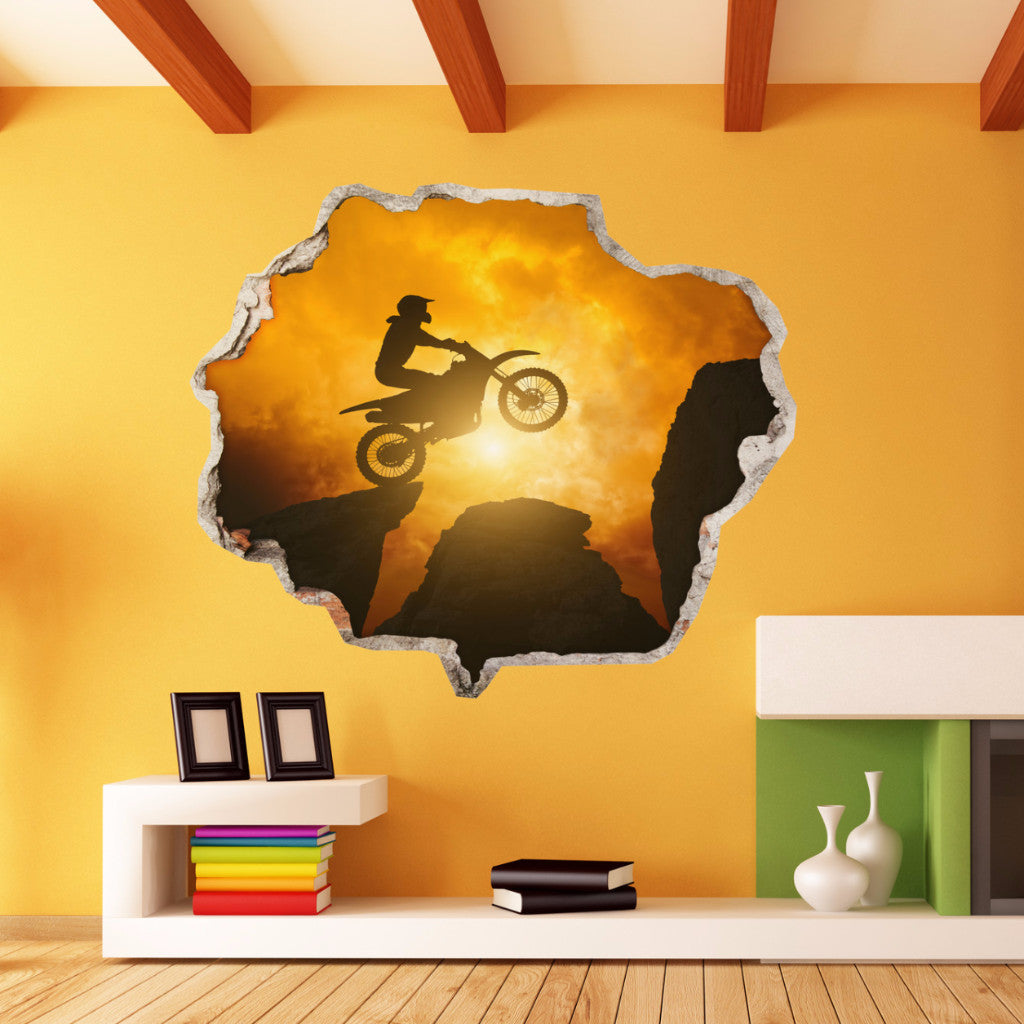 Motocross Wall Stickers | Broken Wall Decals | AMAIII.35
