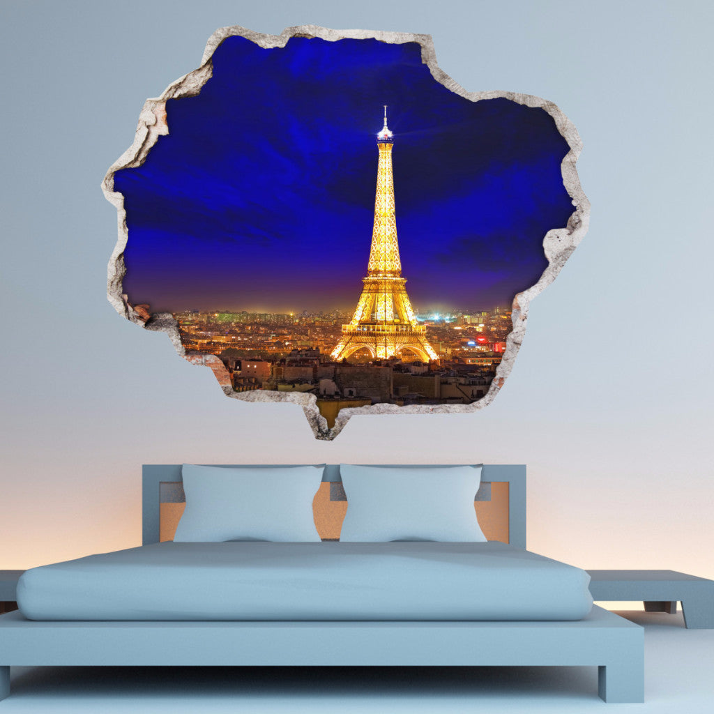 Broken Wall Stickers 3D - Eiffel Tower