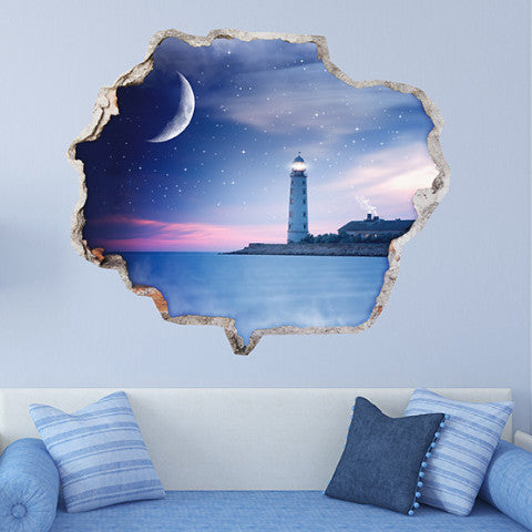 Lighthouse Wall Stickers | Broken Wall Decals | AMAIII.68