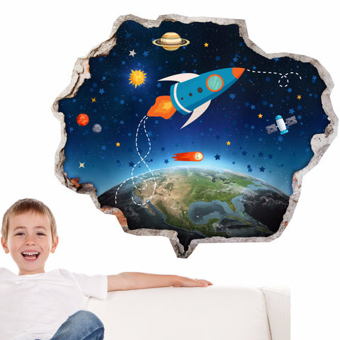 Broken Wall Stickers 3D Kids - Astronaut