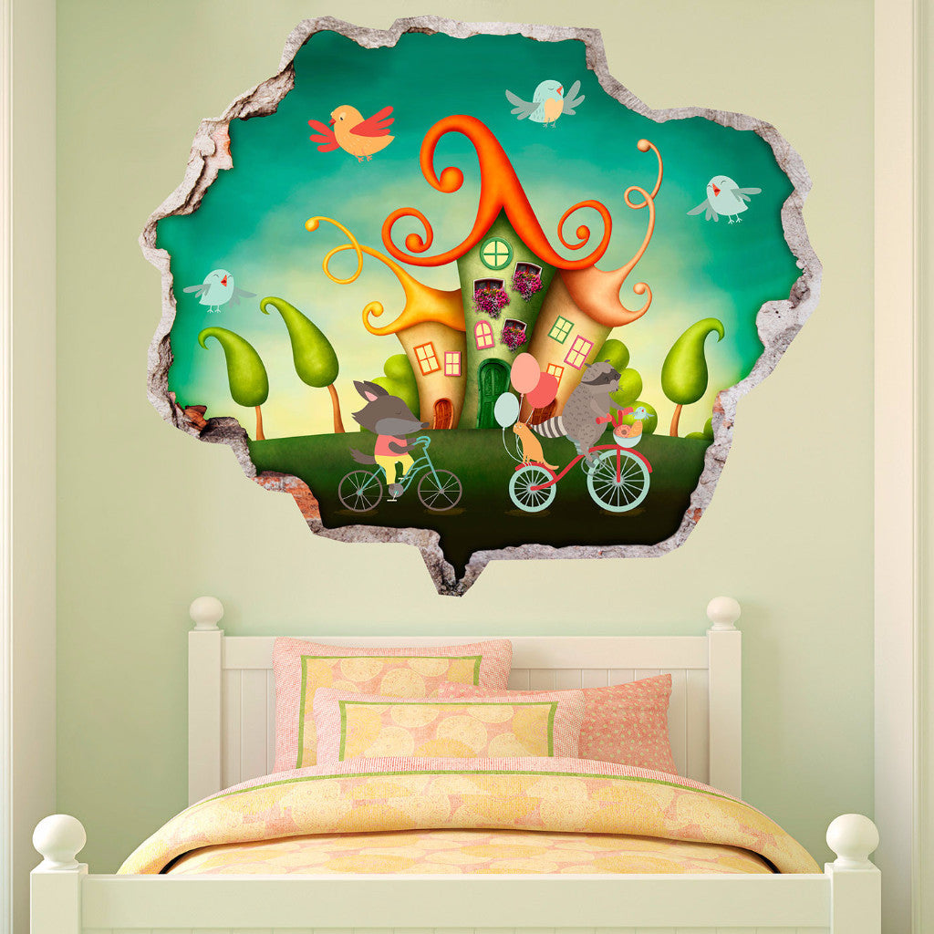 Broken Wall Stickers 3D Kids - Bicycle