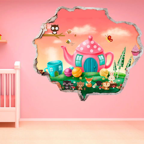 Broken Wall Stickers 3D Kids - Animals