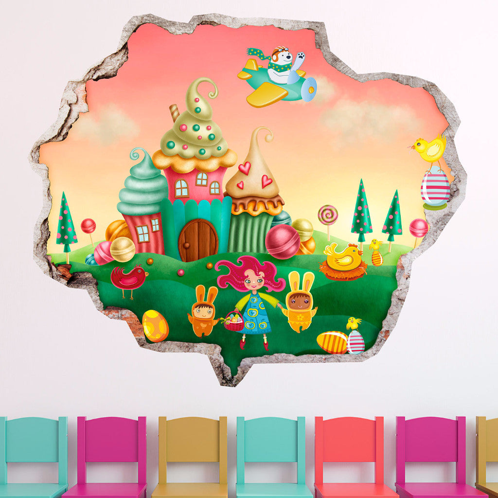 Broken Wall Stickers 3D Kids - Sweet Family