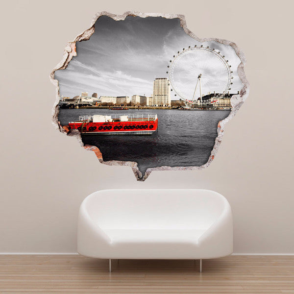 Broken Wall Stickers 3D - London Eye