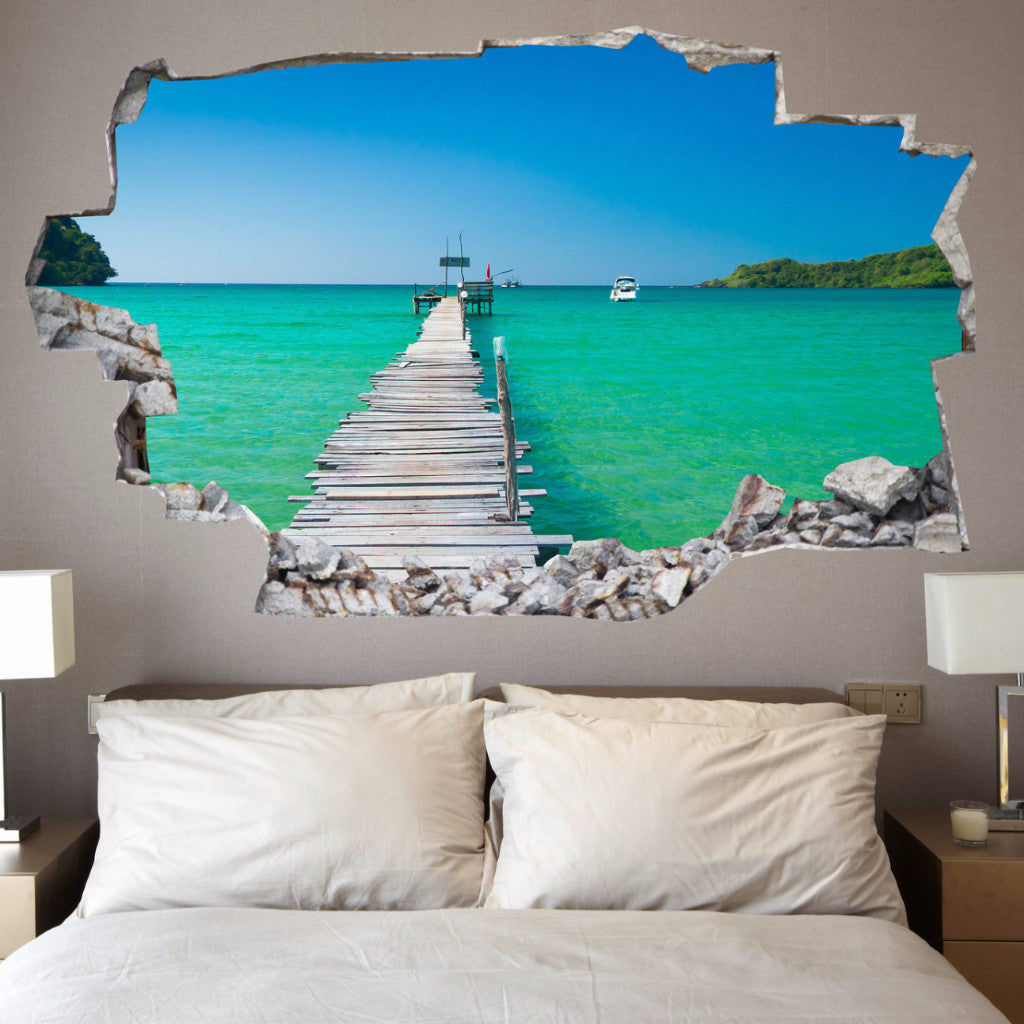 Beach decals beach wall stickers vinyl 3d cab121 vinyl 3d beach decals beach wall stickers vinyl 3d cab121 amipublicfo Images