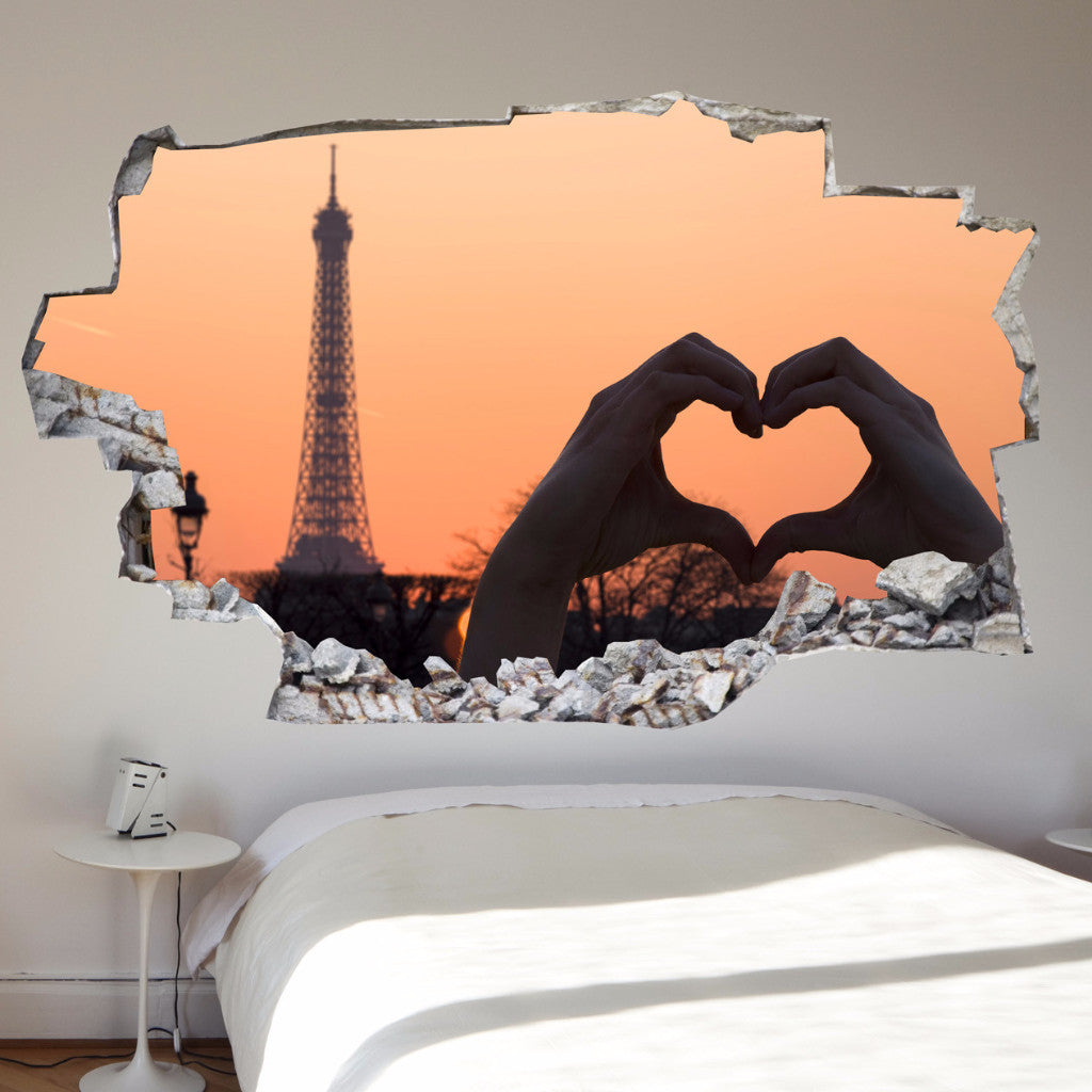 3D Bed Headboard Wall decal - Paris