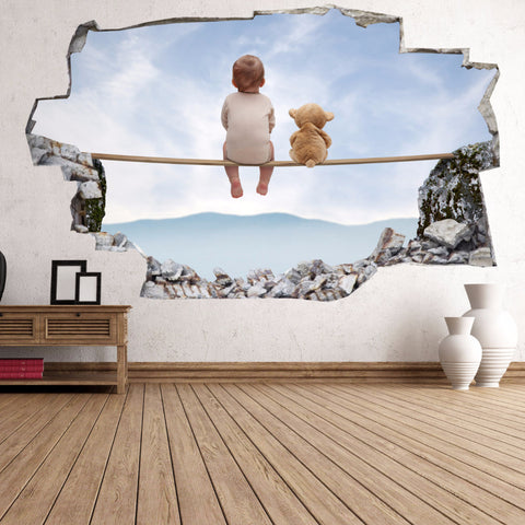Baby and Teddy Wall Stickers | 3D Wall Decals | CAB.196