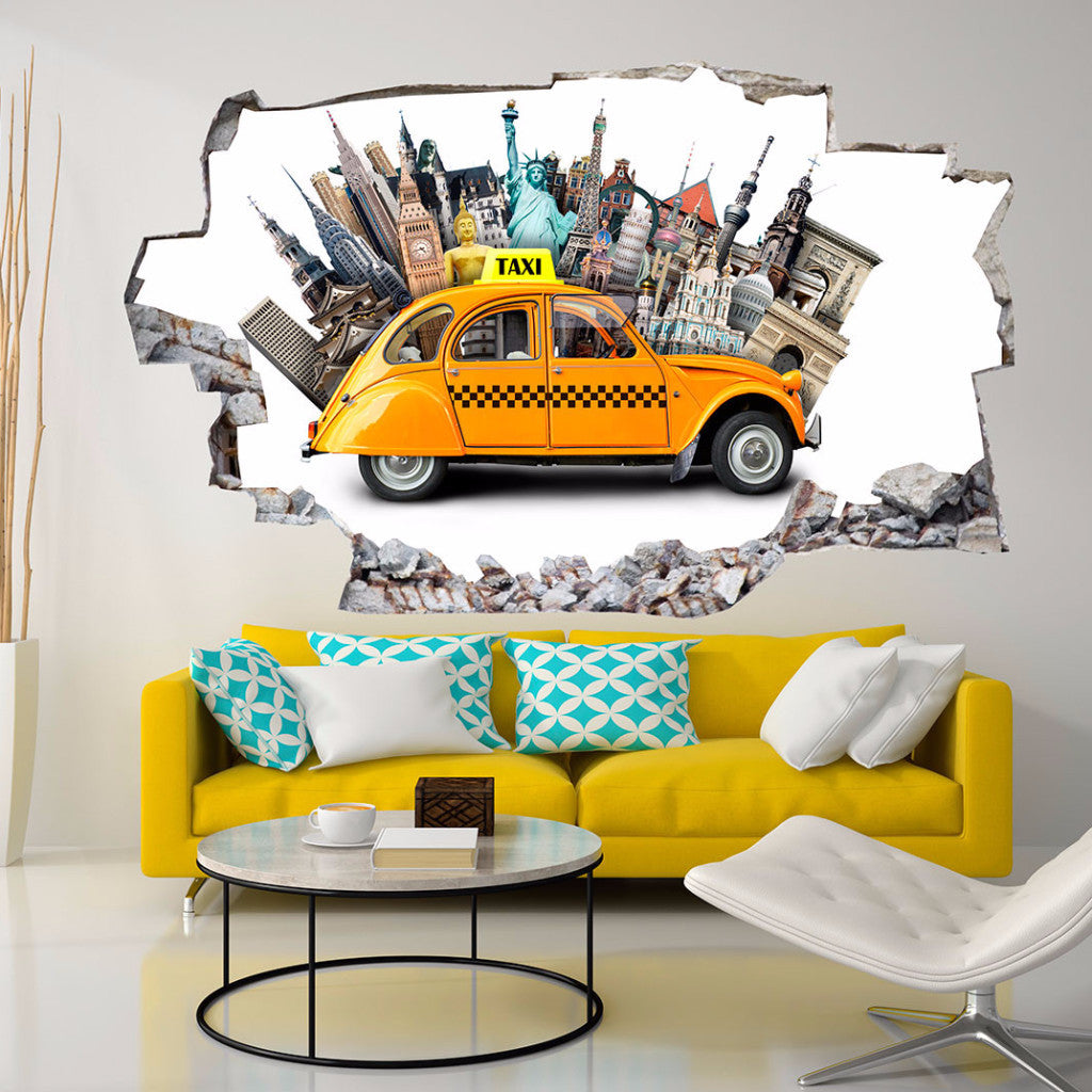 Taxi Wall Stickers | 3D Wall Decals | CAB.249
