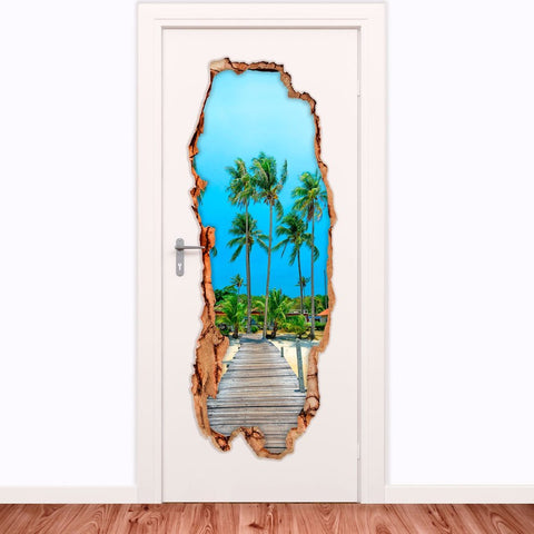 Beautiful Island Wall Stickers | Decorative Door Vinyl 3D | PUE.58