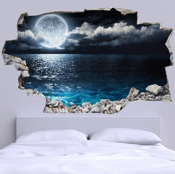 3D Bed Headboard Wall decal- Full Moon