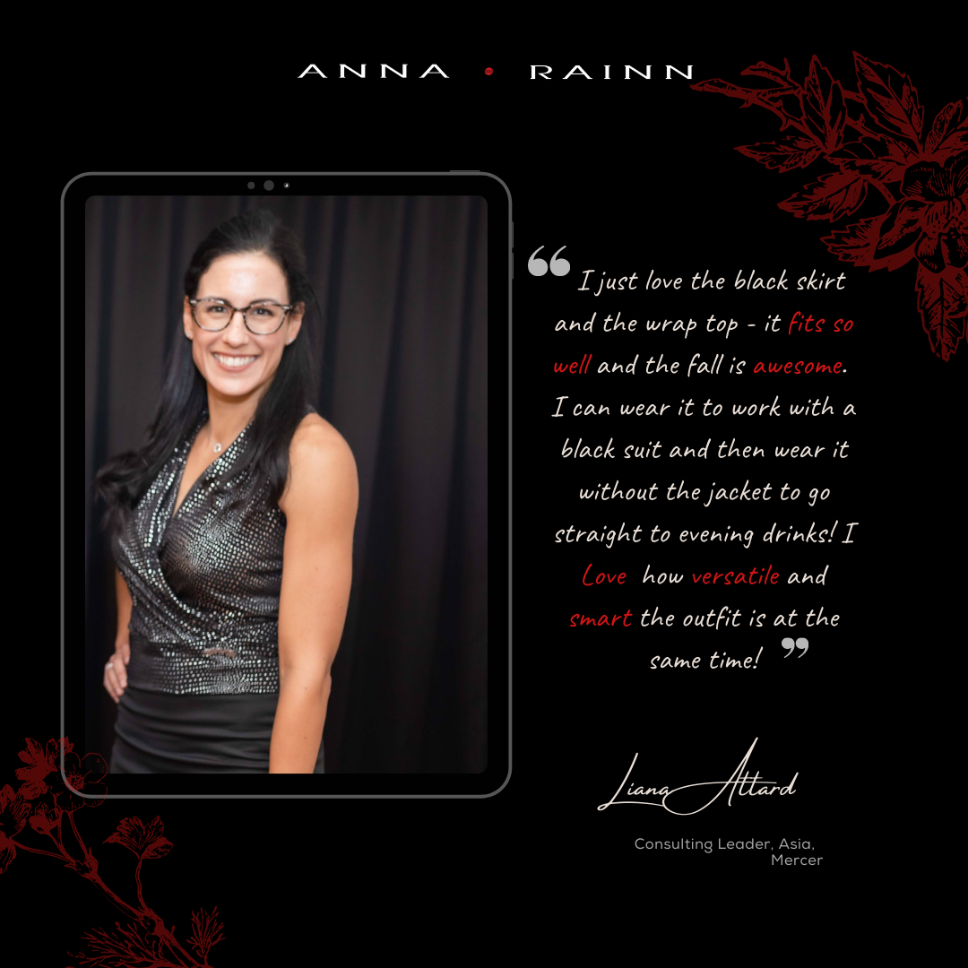 Liana Attard wearing Anna Rainn Signature Top and Black Skirt at KeyNote Women's Directory Event Equity for Action