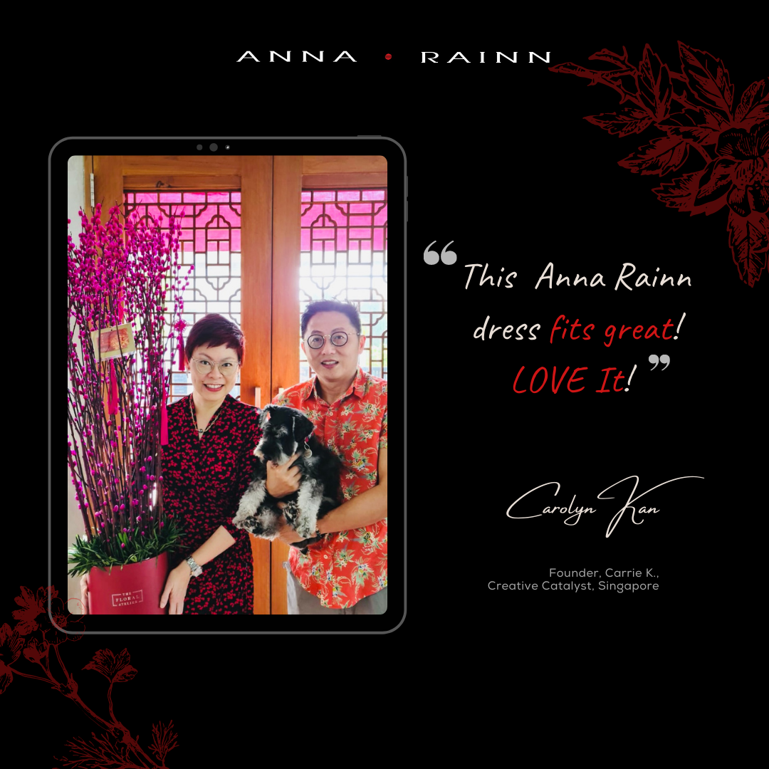 Carolyn Kan wearing Anna Rainn Leaf Hearts Print Wrap Dress on CNY 2021 to usher in the New Year in Singapore
