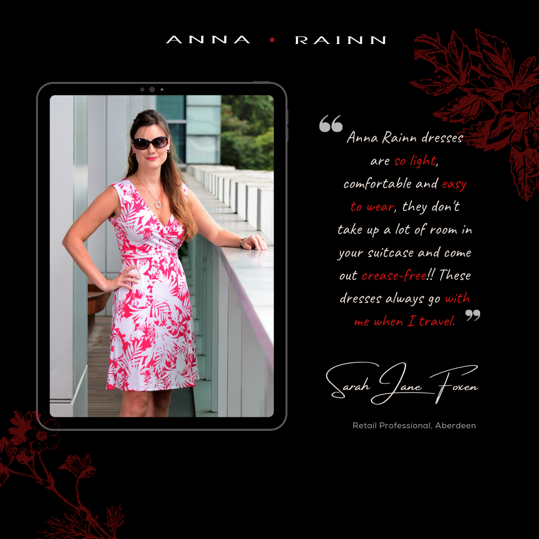 Sarah Jane Foxen wearing A Line Printed Wrap Dress from Anna Rainn in Pink and White Garden Escape Print in Singapore at Orchardgateway