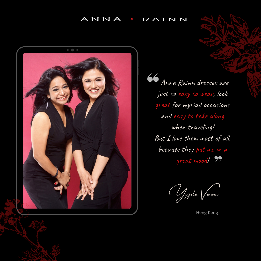 Yogita Verma with Anna Rainn Founder in a Feel Good Photoshoot at The Makeover Inc in Concorde Hotel in Singapore and both ladies wearing Anna Rainn Black dresses