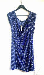 Polka Dot Blue Faux wrap dress Anna Rainn Easy Wear Easy Care  Slip on Step Out