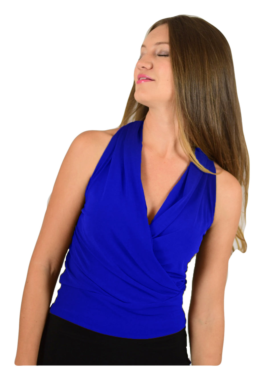 Signature  Sleeve Less Faux Wrap Top - Royal Blue (NEW!)