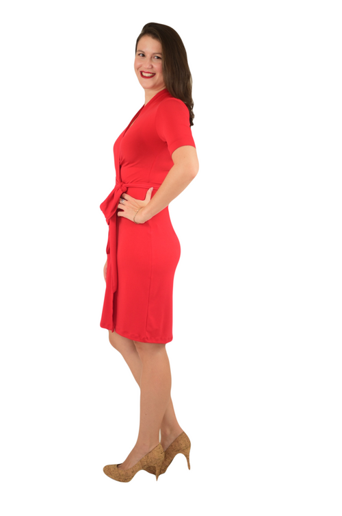 A-Line Wrap Dress, Cuff Sleeves No Collar, Red