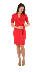 Classic Fit Wrap Dress, Cuff Sleeves, Red